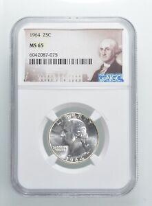 1964 MS65 Washington Quarter Silver NGC Graded - Choice Unc *369