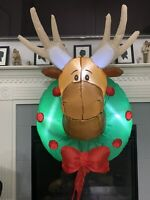 Gemmy Airblown Inflatable Moose Head Wreath