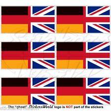 Germania-Bandiera UK Tedesco-Britannico Union Jack 40 mm Mobile Cellulare Adesivo MINI x6