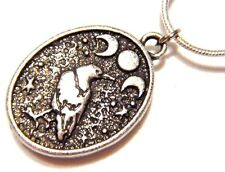 RAVEN & MOON PHASE PENDANT silver charm Woden gothic night crow bird necklace O2