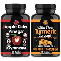 Weight Loss Apple Cider Vinegar ACV + Turmeric Curcumin Fat Burner Pill 2-Pk