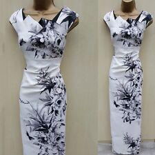 Karen Millen Oriental Floral Print Cocktail Wiggle Pencil Maxi Long Dress 14 UK
