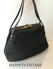 True Vintage 1930s Black Textured Leather Boxy Handbag 30s 40s Box Bag Art Deco