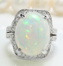 9.47 Ct Natural Ethiopian Opal and Diamonds in 14K Solid White Gold Women Ring
