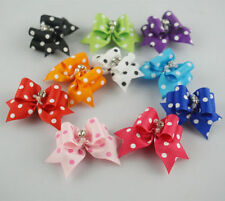 20-50pcs 3D Rhinestone Dot Pet Dog Accessories Grooming Hair bows Rubber Bands