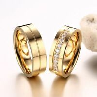 Couples Love Cubic Zirconia Stainless Steel 18K Gold Plated Wedding Band Ring