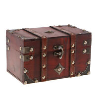 Antique Wood Treasure Chest Jewelry Storage Box Case Home Accessory A