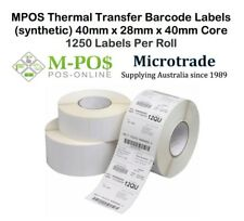 Barcode Labels (Synthetic) 40mm x 28mm x 40mm core Thermal Transfer