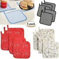 Set of 5 Potholders Trivets Kitchen Everyday Heat Resistant Hot Pads Pot Holders