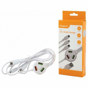 6 IN 1 UNIVERSAL USB MULTI CHARGER CABLE ADAPTER MOBILE PHONE PSP IPOD IPAD 1.2M