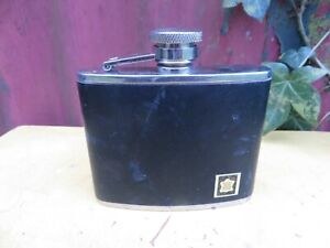 Stainless Steel Hip Flask . Leather Bound .