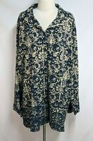 Catherines Womens 3X 26/28W Blue Beige Floral Long Sleeve Button Blouse Top