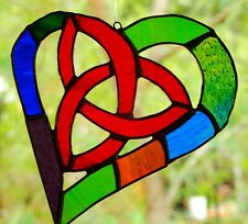 CELTIC HEART TRINITY KNOT Real Stained Glass SUNCATCHER RED Ready To Hang Gifts