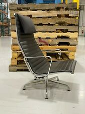 Eames Herman Miller Aluminum Group Lounge Chair Genuine Black Leather