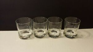 (4) LOW BALL OLD FASHIONED GLASSES - INDENTED - THICK BOTTOM - BARWARE  - CRISA