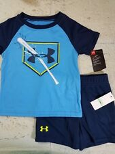 Under Armour Short Set Outfit Blue Baseball Toddler Boys NWT 24M