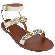 Coach Daisy Flower Rivets Eleanor Sandals Shoes in Chalk Size 6m