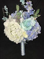 Tiffany Blue White Off White Roses Hydrangea  Floral Wedding Bridal Bouquet