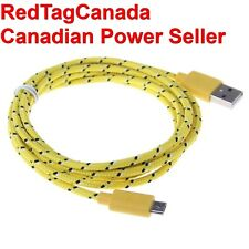 1 m Micro USB Knit Charging Data Cable for Samsung, HTC,Nokia Cell Phones Yellow