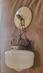VINTAGE Mid Century Modern ORNATE Fixture with WHITE GLASS GLOBE Hanging Light