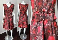 Belted V Neck Vintage  50s Kitten Bow Knee Length Brown Red Floral Dress xS + S