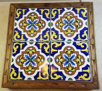 Mexico Folk Art 4 Tile Ceramic Trivet Plant Stand Wood Base Blue Yellow Vintage