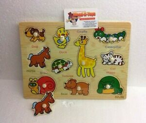 Wooden animal Peg Puzzle Jigsaw Educational Toys for 2-4 Year Olds Baby Toddlers