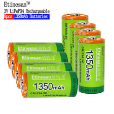 8pcs Cr123a 3v li-ion li-polymer Etinesan 1350mAh Rechargeable battery