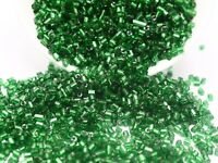 5000 Glass Tube Bugle Seed Beads 2X2mm Green Silver-Lined + Storage Box