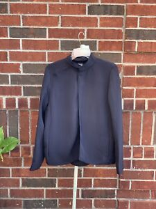 Eileen Fisher Sz M Blue Textured Dress Business Attire Blazer Magnetic Clasp