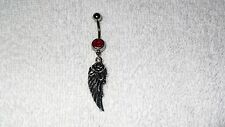 Feather Angel Wing Rose Charm Belly Navel Ring Body Jewelry Piercing Red CZ