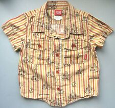 Paul Frank Pirate Ship Anchor Button Up Toddler Shirt 3T Stripes USA 2005 Small