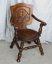 Antique Oak Chair – Carved back of Hunting Retriever Dog and his Bird – 1910