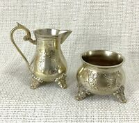 Vintage Silver Plated Creamer Jug Bowl Set Ornate Chased Engraving Footed
