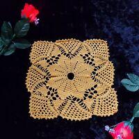 Handmade Crochet ACTUAL Crocheted Mustard Yellow square Design Doily