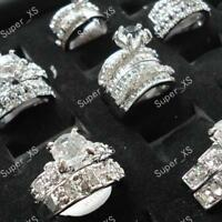 60pcs Zircon Rhinestone Rings Silver Plated Fashion Mixed Lot Wholesale Jewelry