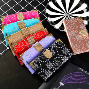 Shockproof Leather Bling Diamond Card Wallet Book Case Cover For Mobile Phone