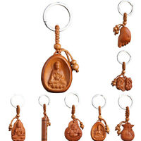 Lucky Jewelry Wood Carving Buckle Buddha Pendant Keychain Car Bag Keyring H_ti