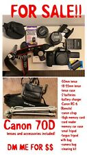 Used Canon 70D 20.2MP Digital SLR Camera - Black Kit & 50mm Lens, Accessories!