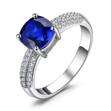 1.7Ct Cushion Cut Blue Sapphire Engagement Ring Solitaire 14k White Gold Over