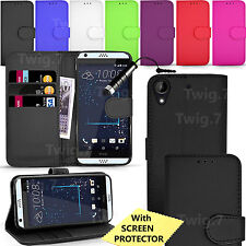 For HTC Desire Phones Case - Leather Wallet Flip Cover + Screen Protector