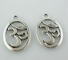 "16pcs Tibetan Silver ""Om"" Symbol Yoga Charms Oval Crafts Pendants 14x22mm"