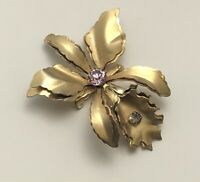 Vintage orchid flower  Brooch Pin gold tone metal with crystals