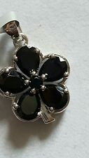 Black spinel sterling silver pendant 4.14cts with certificate