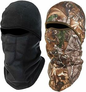 Ergodyne NFerno 6823 Winter Ski Mask Balaclava,Thermal Fleece 2 Pack Black &Camo