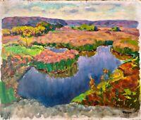 painting art vintage Fashchenko Landscape impressionism River backwat collection