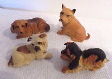 Lot of 4 Vintage Plastic Mini Miniature Dog Figurines - Hong Kong