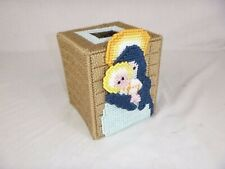 Vtg Needlepoint Plastic Point Tissue box Cover Mary Baby Jesus Madonna & Child