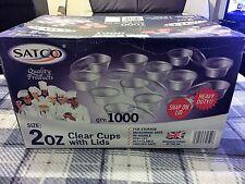 SATCO Plastic Clear 2oz Sauce Cups & Lids, Pots Tubs H/D Catering,takeaway etc.