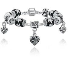 European S925 Glass Beads Heart Charm Bracelet Fit Women Bangle Jewelry Gift Box